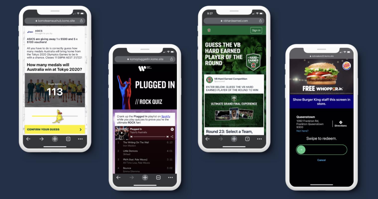 Phones displaying Komo's Engagement Hubs